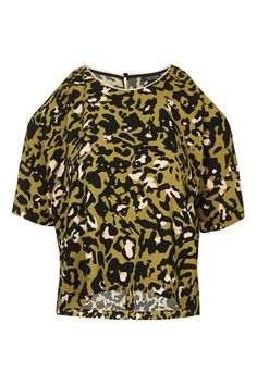 Leopard Print Cold Shoulder Tee