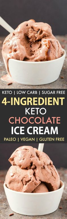 4-Ingredient Keto Chocolate Ice Cream (No Churn, Paleo, Vegan, Gluten Free)- Smooth, creamy and fool-proof chocolate ice cream- Blender made and ready in minutes- An easy keto low carb ice cream recipe to enjoy guilt-free!