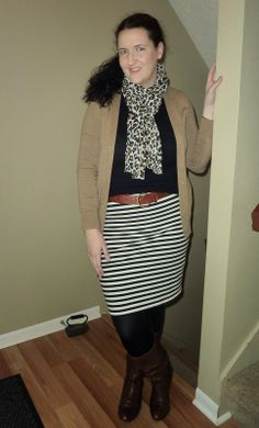 Just Another Smith: #5 - Mixed prints outfit, black and cognac outfit, old Navy striped skirt, J.Crew camel cardigan, H&M Leopard scarf, Steve Madden brown boots