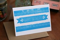 Happy Birthday banner letterpress card by Tabletop Made $4