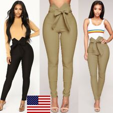 US Women High Waist Casual Drawstring Elastic Long Pants Ladies Pencil Trousers Skirt Outfits, Casual Outfits, Cute Outfits, Trousers Women, Pants For Women, Girls Pants, Fashion Pants, Fashion Outfits, Dressy Pants