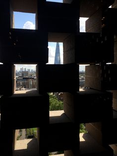 Tate Modern Switch House - view of Shard thru perforated brickwork - preview 15/06/16