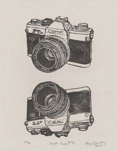 New to minouette on Etsy: Shoot - Vintage Canon FTb Camera Linocut - Classic SLR Film Camera Lino Block Print Canon Ftb (32.00 USD)