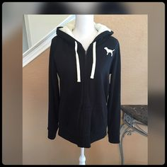 ✨PINK- BLACK & WHITE HOODIE✨ Worn only a few times. Inside jacket has soft white faux fur. Absolutely adorable. No stains or holes. Victoria's Secret Tops Sweatshirts & Hoodies