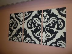 Black White Damask Fabric Wall Art Funky Retro Designer cotton canvas-weight Tryptich Picture Hanging via Etsy