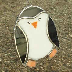 Black and White Penguin Stained Glass Christmas by FiveSparrows, $12.00