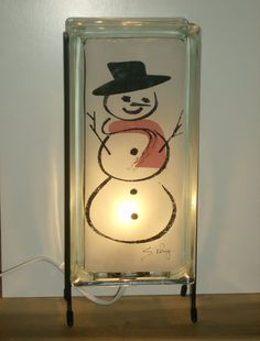 SNOWMAN Lamp glass block night light FREE SHIPPING upcycled handmade accent lamp Holiday decor Christmas lamp Christmas decor winter decor
