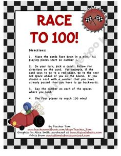 100th Day Game: Race to 100!