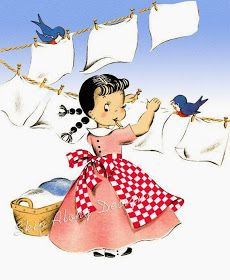 Laundry room art : Vintage hanging wash on the clothesline with blue birds! Retro Kids, Images Vintage, Vintage Pictures, Vintage Greeting Cards, Vintage Postcards, Pin Up Girl, Halloween Vintage, Images Kawaii, Laundry Room Art