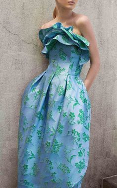 Floral Jacquard Strapless Petal Gown by Carolina Herrera