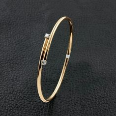 Thin Bangle Bracelet with Diamond Accents