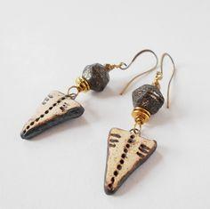 rustic drop earrings, artisan bead earrings, dangle earrings, tribal pattern earrings, boho jewelry, brass drop earrings, gift for her by jcudesigns on Etsy