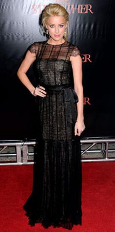 Look of the Day › October 13, 2009 WHAT SHE WORE Heard accented her floor-length lace gown with Dana David jewelry WHERE The N.Y.C. premiere of The Stepfather