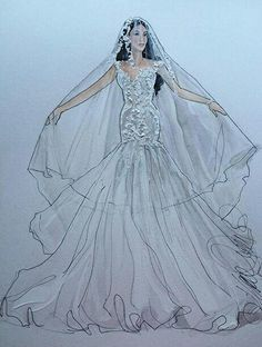 Wedding Dress Illustrations, Wedding Dress Sketches, Dress Design Sketches, Wedding Illustration, Fashion Design Sketches, Fashion Drawings, Fashion Illustrations, J Aton Couture, Fantasy Gowns