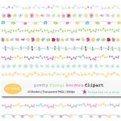 Pretty Floral Borders Clipart (25 Borders) by DreamingOnAStar, $3.75