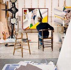 Roy Lichtenstein in his studio. Photo by Laurie Lambrecht.