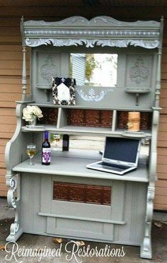 Repurposed piano to bar - wonder if I could do this with mom's old china cabinet