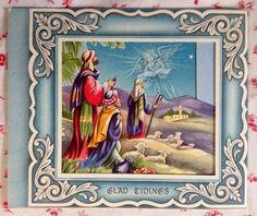 Vintage 1940s Embossed Christmas Greeting Card Angel Appearing to Shepherds