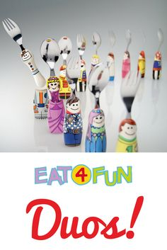 There is an Eat4Fun DUO for every little dreamer in your life. Keep them standing at attention in their outer costumes, or pop them out for an easy grip! #DUOs #eat4fun #toddlerutensils