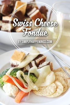 Only 5 ingredients! Swiss cheese fondue featuring smoked Gruyère cheese and Norway's Jarlsberg cheese with white wine and a hint of garlic. The creamy texture is perfectly paired with bread and vegetables for dipping. Plus learn fondue etiquette! Swiss Cheese Fondue, Gruyere Cheese, Easy Dinner Recipes, Summer Recipes, Dinner Ideas, Jarlsberg Cheese, Simply Recipes, Simply Food, Fondue Recipes