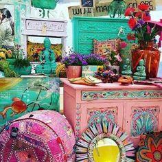 Colorful boho decor