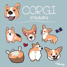 corgi vector stickers