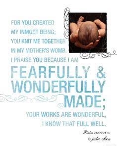Psalm 139 Boy or Girl Scripture Art Life Verse Design