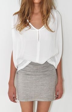 silk twill top + grey skirt