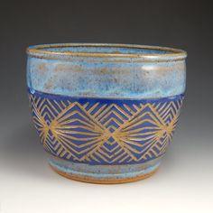 blue sgraffito planter stoneware planter by firenfluxhandmade