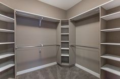 Tons of Shelving and Hanging Space Available in this Walk-in Closet! Tons of Shelving and Hanging Space Available in this Walk-in Closet! Master Closet Design, Walk In Closet Design, Master Bedroom Closet, Bathroom Closet, Closet Designs, Diy Walk In Closet, Walking Closet, Closet Renovation, Closet Remodel