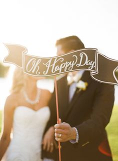 Oh Happy Day signage at wedding, photo by Taylor Lord Photography