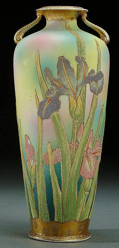 2: A NIPPON CORALENE DECORATED PORCELAIN TWO HANDLED VASE CIRCA 1909 WITH BEADED GLASS OF DECORATION  IRIS AND LEAVES ON A MOTTLED PINK, BLUE AND GREEN GROUNDGERDECORATION