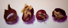 Roasted Chestnuts   Mike Brennan #art #watercolor #chestnuts #nuts #stilllife #painting #holiday #roasted