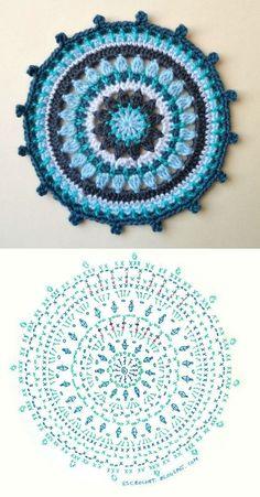 Transcendent Crochet a Solid Granny Square Ideas. Inconceivable Crochet a Solid Granny Square Ideas. Motif Mandala Crochet, Crochet Circles, Crochet Motifs, Crochet Diagram, Crochet Chart, Crochet Squares, Crochet Stitches, Mandala Rug, Granny Squares