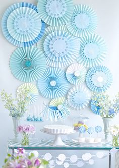 Floral Inspired Baby Shower by Lutèce Floral and Event Design Paper Fan Decorations, Baby Boy Decorations, Birthday Party Decorations, Paper Rosettes, Paper Flowers, Baby Shower Floral, Mermaid Party Favors, Paper Flower Tutorial, Backdrops For Parties