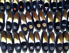 Evening slippers. Visit paperladyonline.com or drop by our store for more custom monogram info!