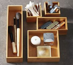 Bamboo Drawer Organizers, Set of 5  for the bathroom #potterybarn