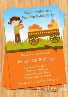 Eventful Cards - Kids Fall Pumpkin Patch Birthday Party Invitation (http://www.eventfulcards.com/kids-fall-pumpkin-patch-birthday-party-invitation/)