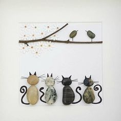 Pebble art cat, unique gift for cat lovers, unique birthday gift for mom Unique Birthday Gifts, Mom Birthday Gift, Unique Gifts, Cat Lover Gifts, Cat Gifts, Cat Lovers, Pictures For Sale, Art Pictures, Mother Day Gifts