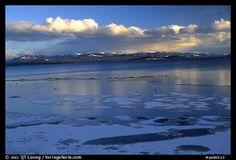 Ice on Yellowstone lake. Yellowstone National Park - Year round beauty