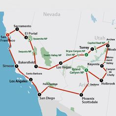 Klik op de afbeelding voor een vergroting Usa Roadtrip, Road Trip Usa, Bryce Canyon, San Diego, San Francisco, Palm Springs, Nevada, Cool Places To Visit, Places To Travel