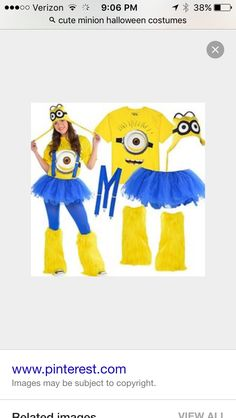 Be despicably you as one of Gru's cute minions! Minion shirts & peruvian hats go great with solid blue & yellow tights, tutus, suspenders & leg warmers! Minion Halloween Costumes, Homemade Minion Costumes, Halloween Kostüm, Holidays Halloween, Adult Minion Costume, Family Halloween, Minion Shirts, Minion Birthday, Minion Party