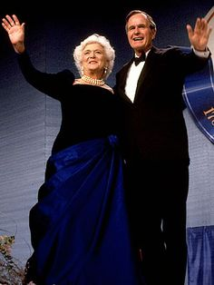"""Barbara Bush For her 1989 inaugural outing, Mrs. Bush chose a sapphire velvet-and-satin gown from Arnold Scaasi. The First Lady was so fond of the asymmetrically draped design that she was reluctant to make the customary donation to the Smithsonian Institution. """"I love this dress,"""" she told Time, """"and I really hate to give it up."""""""