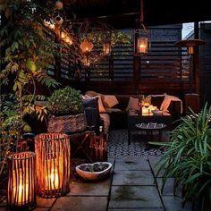 Ideas For Bohemian Patio Diy Decks Small Outdoor Patios, Small Backyard Patio, Diy Patio, Backyard Landscaping, Patio Ideas, Backyard Ideas, Backyard Pools, Balcony Ideas, Patio Wall