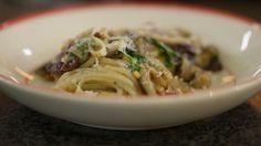 Linguini met aubergine en radicchio   Dagelijkse kost
