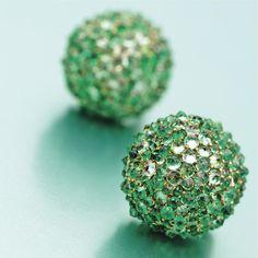 Pair of emerald, beryl and diamond ball earclips, JAR, Paris | lot | Sotheby's