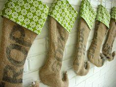 Image detail for -Christmas Stockings Burlap Elf Repurposed Coffee Sack with Black ...