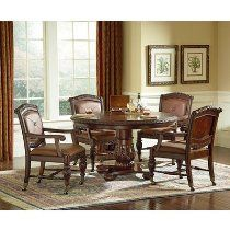 Antoinette 5 Piece Dining Room Set is a part of Antoinette Collection by Steve Silver Round Dining Room Sets, Round Table And Chairs, Dining Room Furniture Sets, Dining Table, House, Home Decor, Silver, Traditional, Top