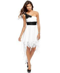 Darlin Dress, sleeveless one shoulder sash handkerchief hem