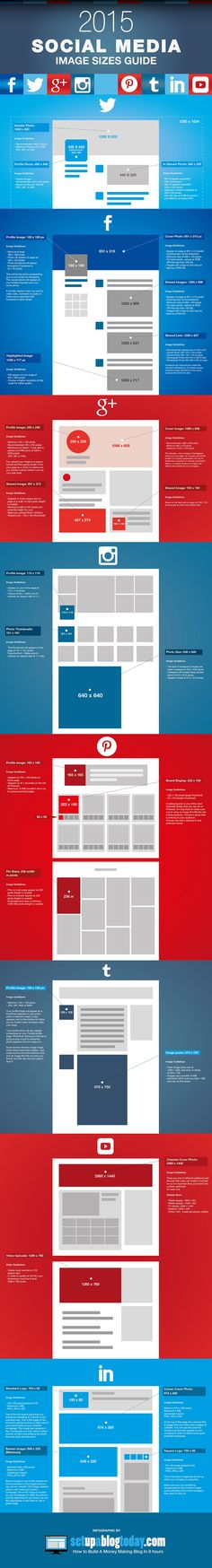 Social Media Image Sizes Guide 2015 - #SocialMedia #SocialNetworks #Infographic #Infographics #Twitter #FB #Facebook #GooglePlus #Instagram #Pinterest #tumblr #LinkedIn #YouTube